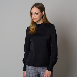 Women's blouse in black with smooth pattern 12423, Willsoor