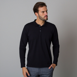 Men's black polo t-shirt with a long sleeve 12476