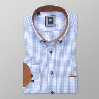 Men's Classic Fit shirt in blue with brown elbow pads 12506