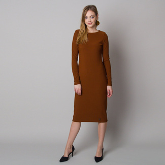 Women's dress in ribbed design and brown color 12664, Willsoor