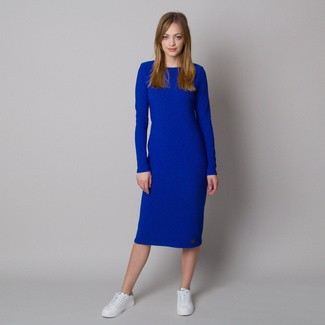 Women's dress in ribbed design and blue color 12665, Willsoor