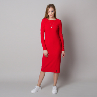 Women's dress in ribbed design and red color 12666, Willsoor