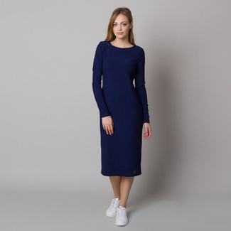 Women's dress with ribbed design and dark blue color 12667, Willsoor
