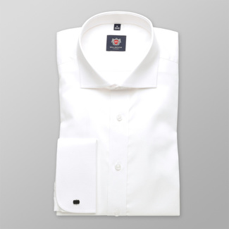 Men slim fit shirt London (height 198-204) 6146 in white color with formula 2 W Plus, Willsoor