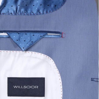 Men suit jacket Willsoor (height 176-182) 6656 with fine strip in blue color, Willsoor