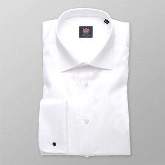 Men classic shirt London (height 188-194) 7493 in white color with strip, Willsoor