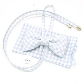 Women's butterfly Willsoor 7870 with white-blue checked 'gingham', Willsoor