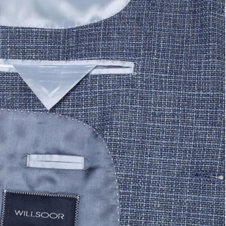 Men classic suit jacket Willsoor (height 176-182) 7994 in blue color, Willsoor