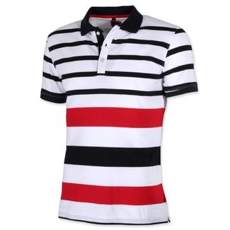 Men polo t-shirt Willsoor 8141 in white color with coloured stripes, Willsoor