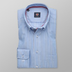 Men classic shirt London (height 176-182) 8648 in blue color with strips and 2W Plus